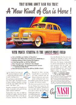 1941 Nash Ambassador 600 Sedan art A New Kind of Car is Here promo print ad