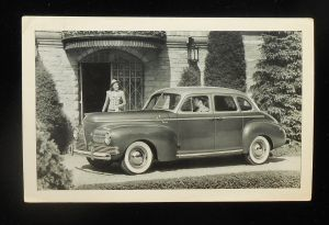 1941 Nash Ambassador Sedan Advertising Guy Picking Up Babe Postcard