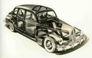1942 Nash 600 showing its monocoque construction X-ray