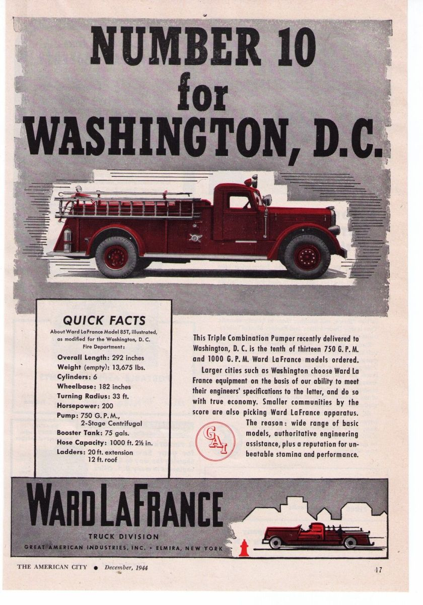 1944 Vintage Ward LaFrance 'Washington, D.C.' Fire Truck Print Advertisement