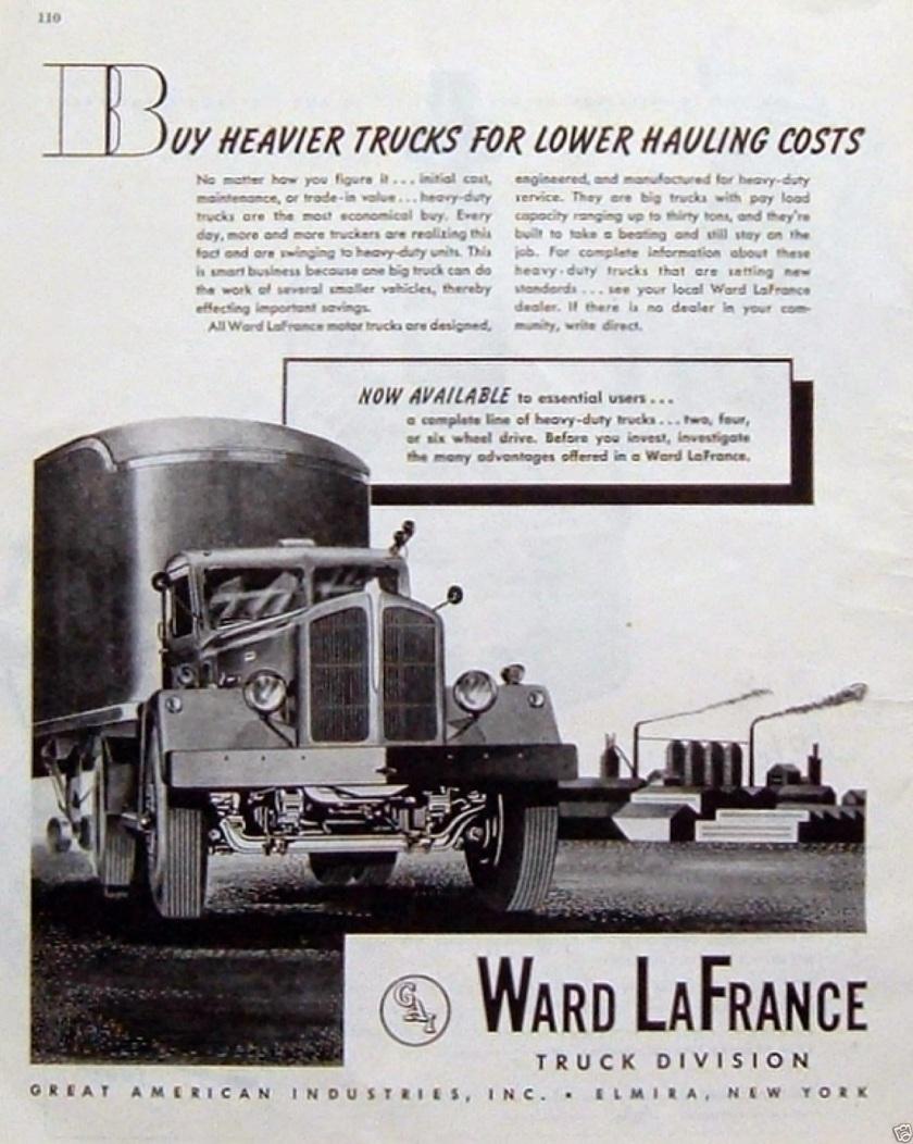 1945 Vintage Ad Ward LaFrance Trucks