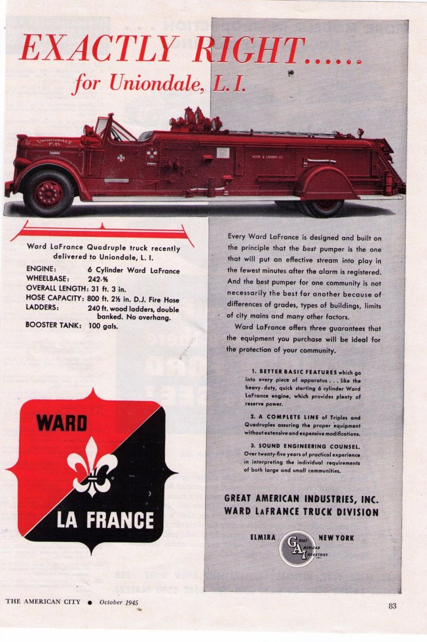 1945 Vintage Ward LaFrance 'Uniondale, L.I.' Fire Truck Print Advertisement