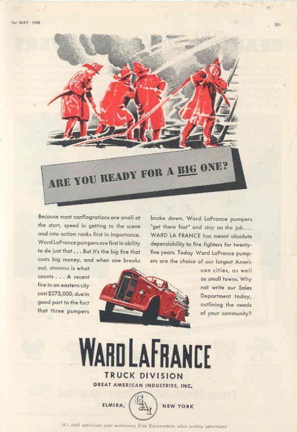 1945 Ward LaFrance Fire Truck Ad