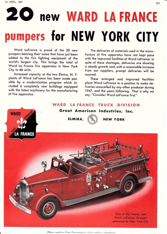 1947 FDNY GET 20 wARD LaFRANCE PUMPERS AD