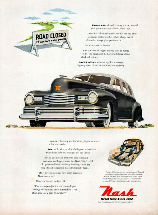 1948 Nash Car ad --Nash 600 ad