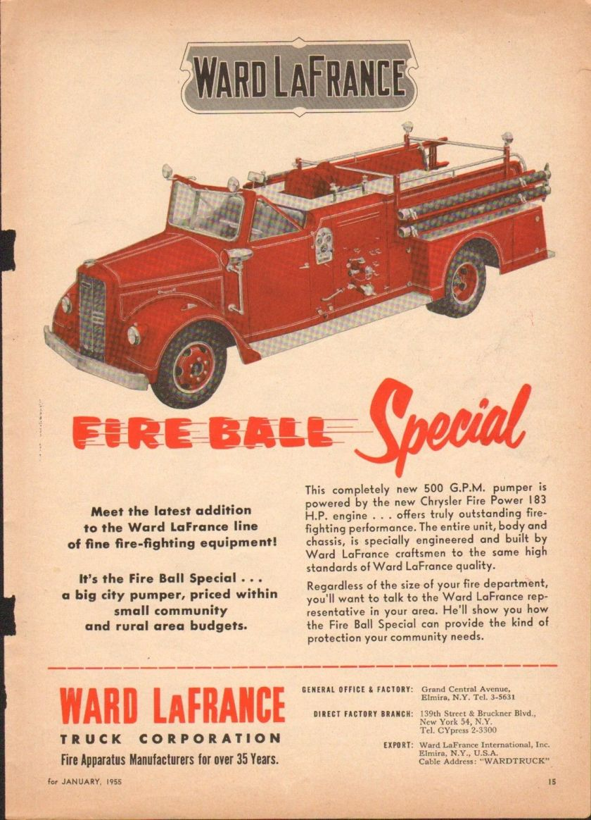 1950s WARD LAFRANCE FIREBALL SPECIAL FIRE TRUCK