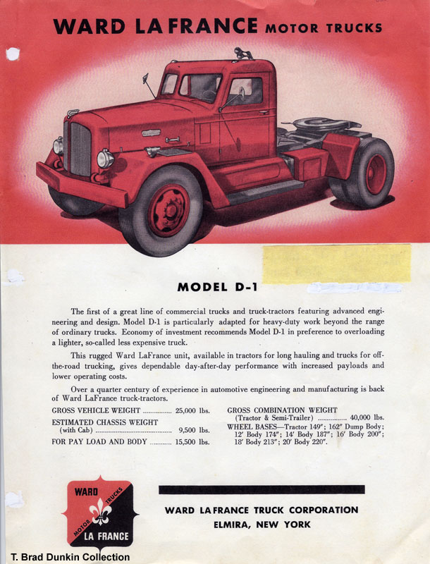 1951 Ward LaFrance Model D-1 brochure