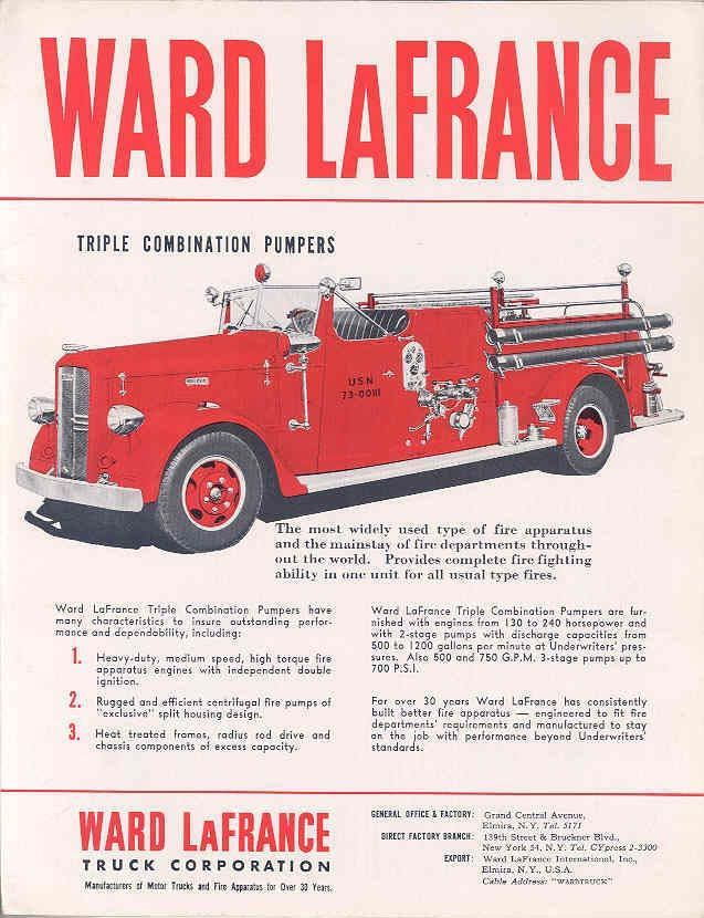 1951 Ward LaFrance Pumper Fire Truck Brochure