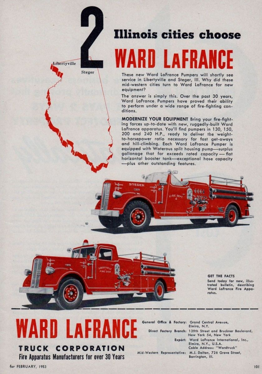 1953 ILLINOIS CITIES CHOOSE WARD LaFRANCE FIRE ENGINES AD