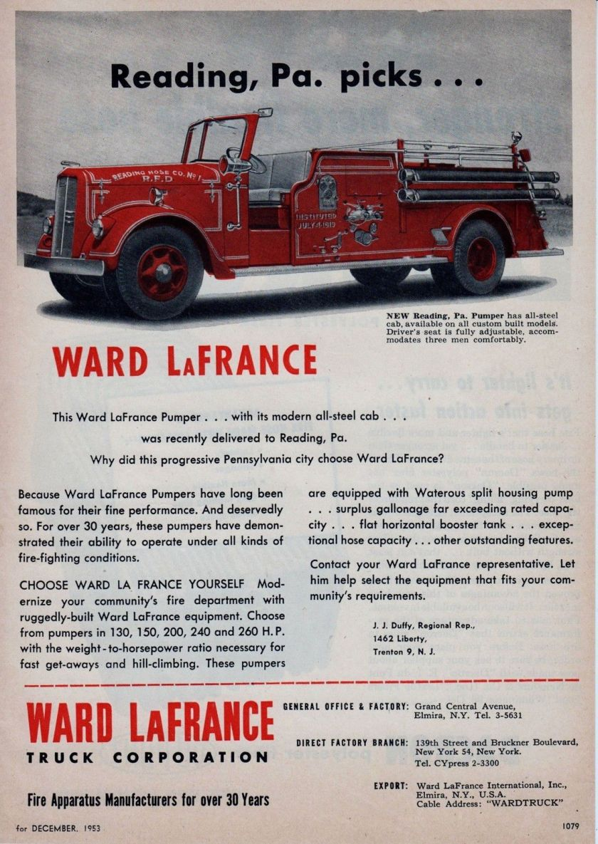 1953 WARD LaFRANCE FIRE ENGINE AD