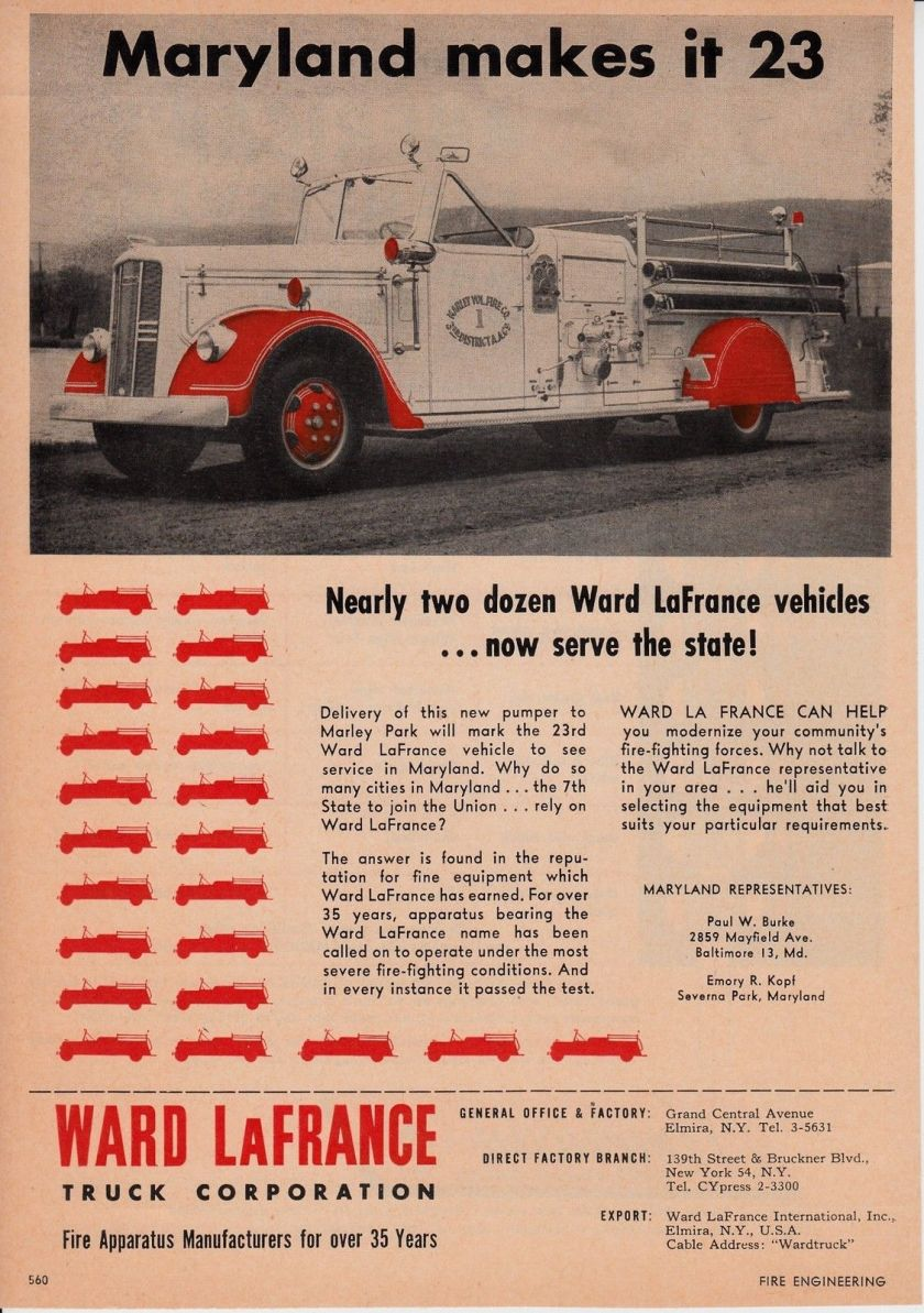 1954 MARLEY PARK MD HAS A WARD LaFRANCE FIRE ENGINE 1954 AD