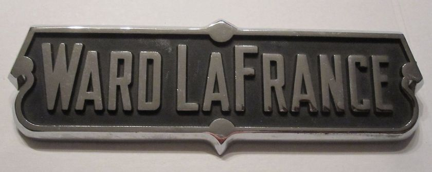 1955 Genuine Vintage Ward LaFrance Chrome Emblem Plate, Fire Engine Sign, Large Logo