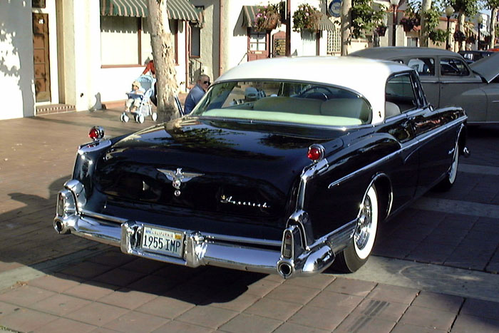 1955 Imperial Newport with rear view of free-standing gunsight taillights