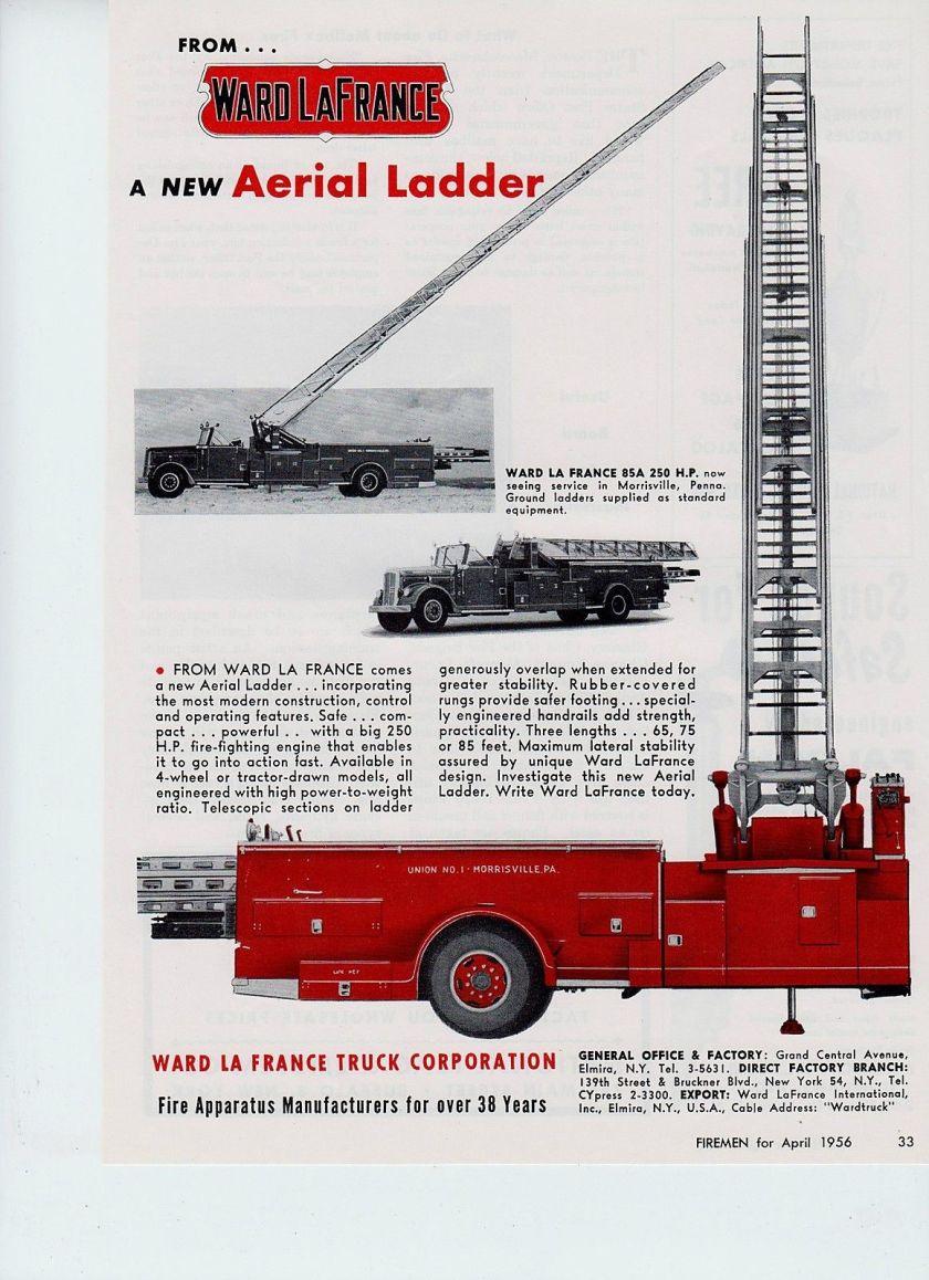 1956 WARD LaFRANCE AERIAL TRUCK 1956 AD