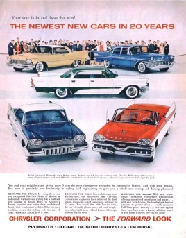 1957 Chysler's line-up for '57, with an Imperial coupe on top!
