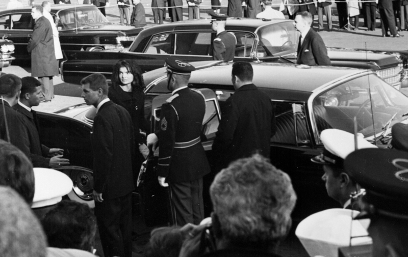 1960 JFK funeral - Jacqueline & Robert Kennedy entering limousine