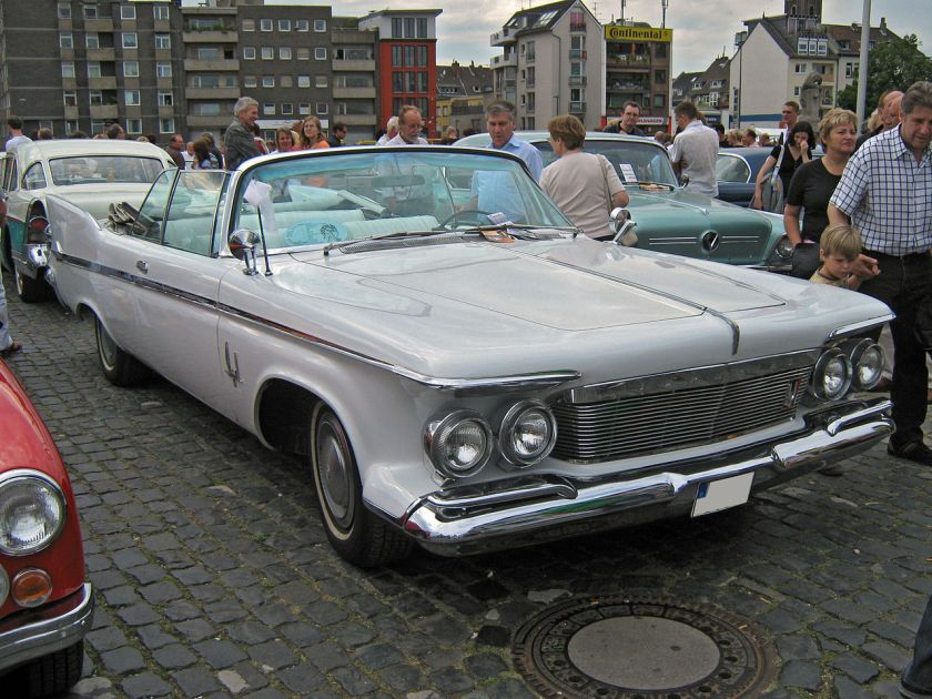1961 Chrysler Imperial Crown convertible with view of free-standing headlights