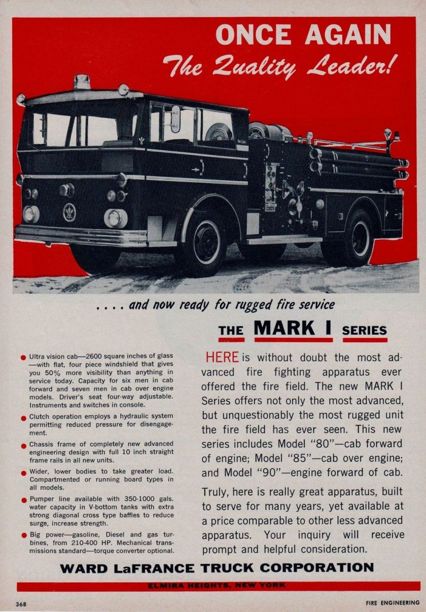 1962 WARD LaFRANCE MARK 1 SERIES FIRE ENGINES AD