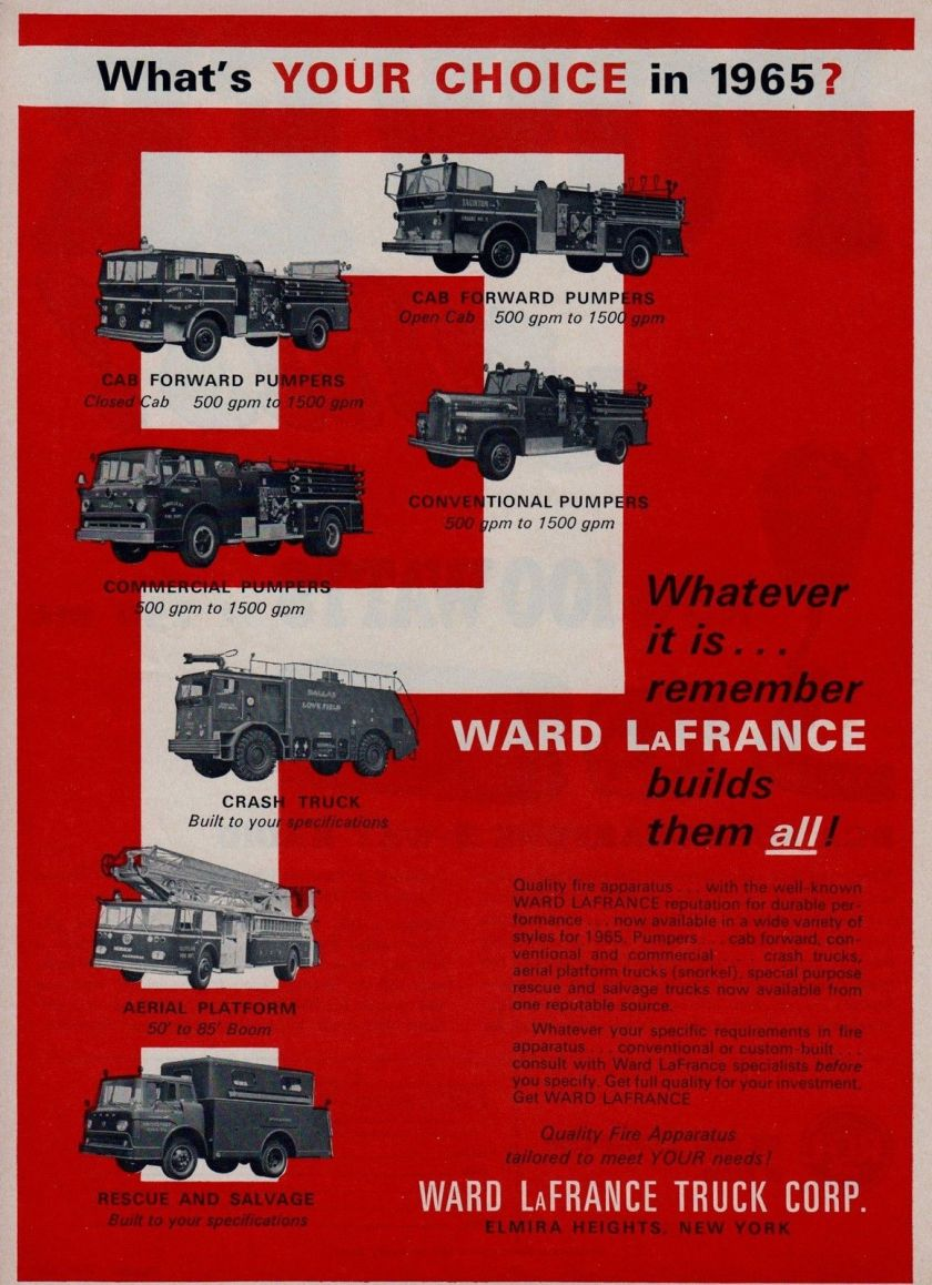 1965 WARD LaFRANCE ASKS WHAT YOU CHOICE 64 AD