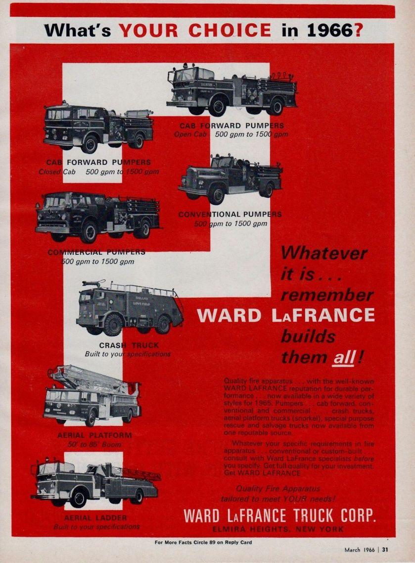 1966 WARD LaFRANCE GIVES AN CHOICE AD