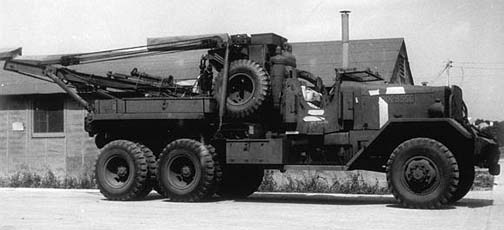 Ward La France Heavy Wrecking Truck M1A1 ready for shipment overseas at Hampton Roads