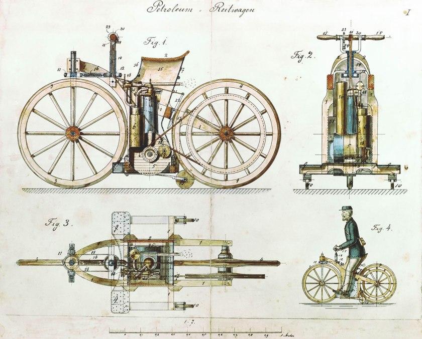 1885 Daimler Reitwagen color drawing DE patent 36423