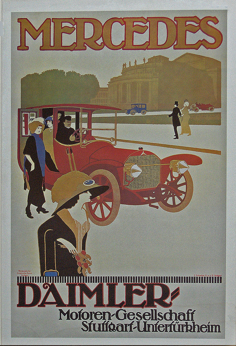 1908 Daimler Motoren Gesellschaft poster for a Mercedes Double Phaeton