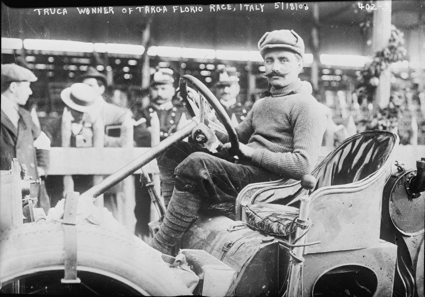 1908 Vincenzo Trucco won de Targa Florio in 1908 met de Isotta Fraschini-type I.