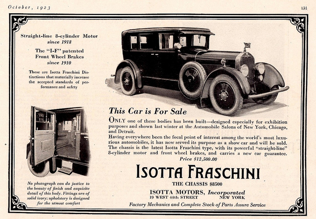1923 Isotta Fraschini Tipo 8 American ad