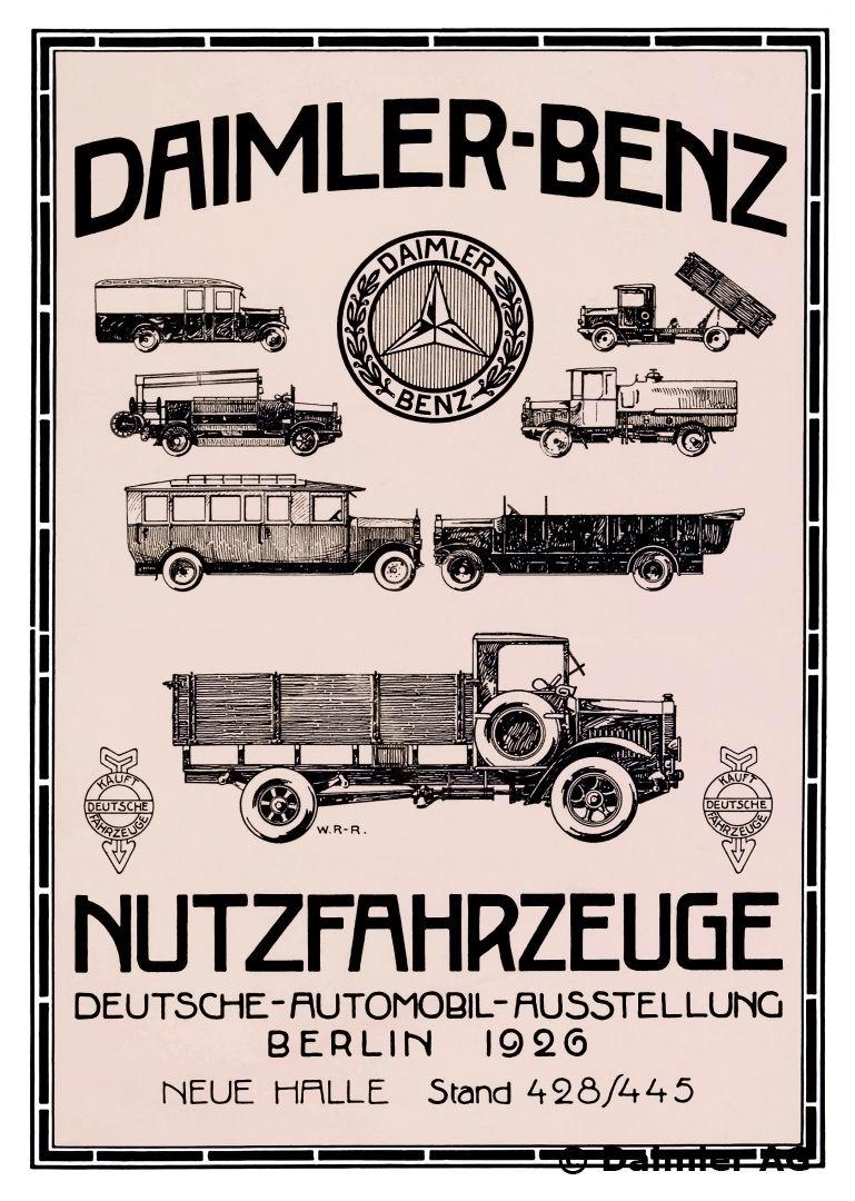 Werbeanzeige Lkw und Nutzfahrzeuge Daimler-Benz AG, 1926 bis 1945.