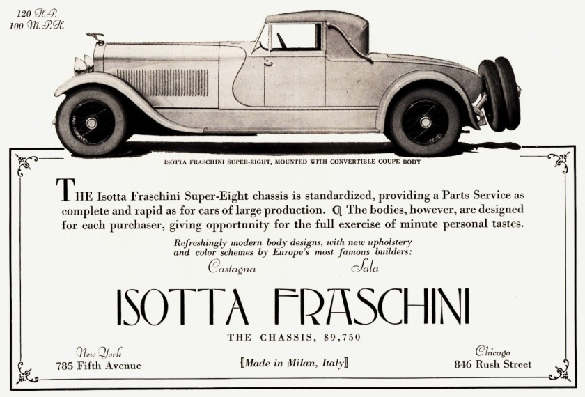 1928 Isotta Fraschini Tipo 8A half page ad