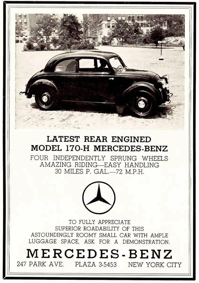 1934 Mercedes Benz 170 ad