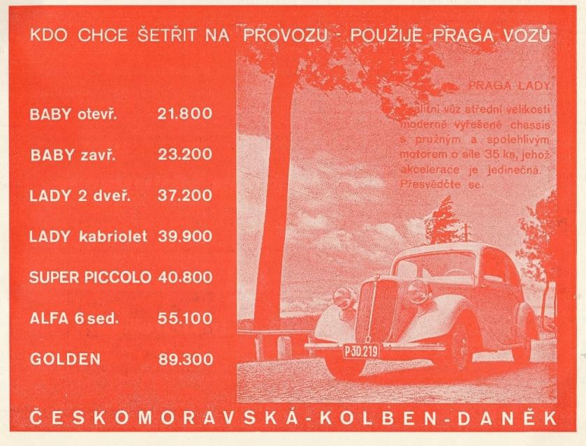 1936 Praga reklama - Autosport 10-1936