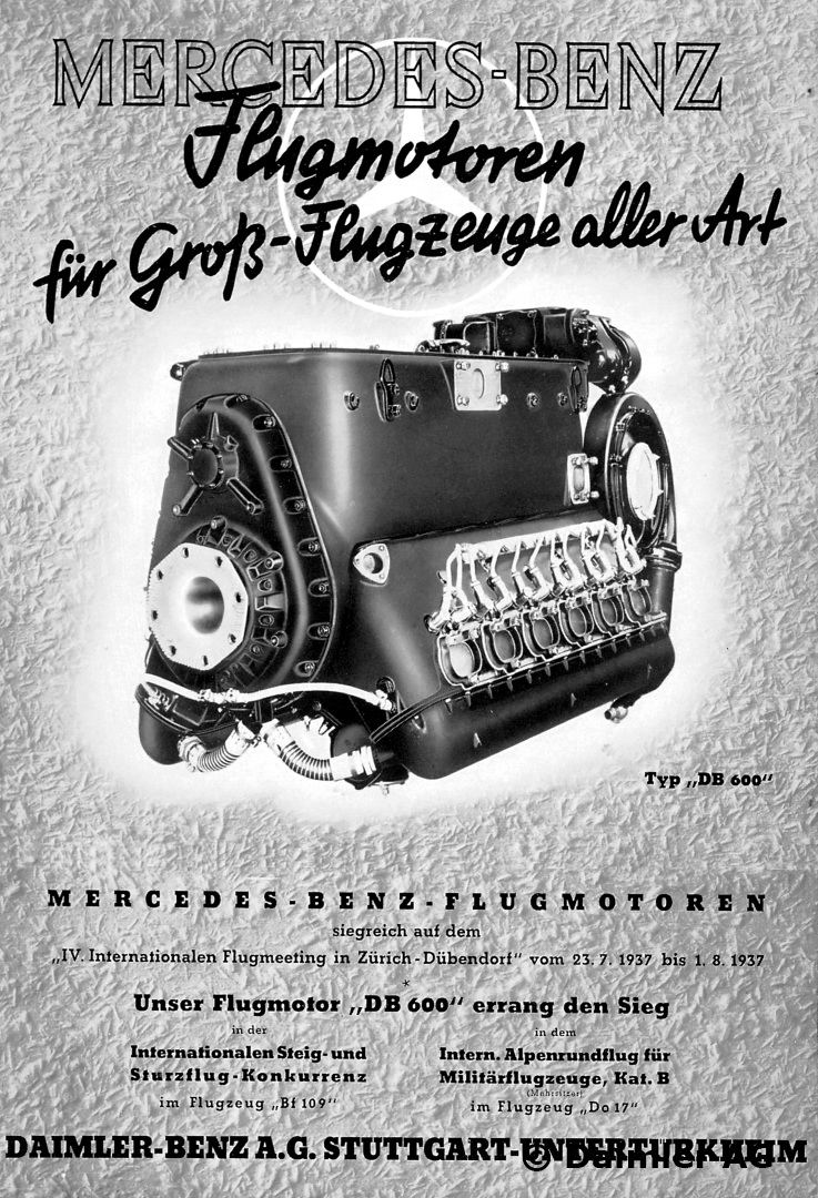 1937 Daimler Benz AG advertisement Mercedes Benz aeroengines for the full range of large aircraft, motif DB 600 aeroengine