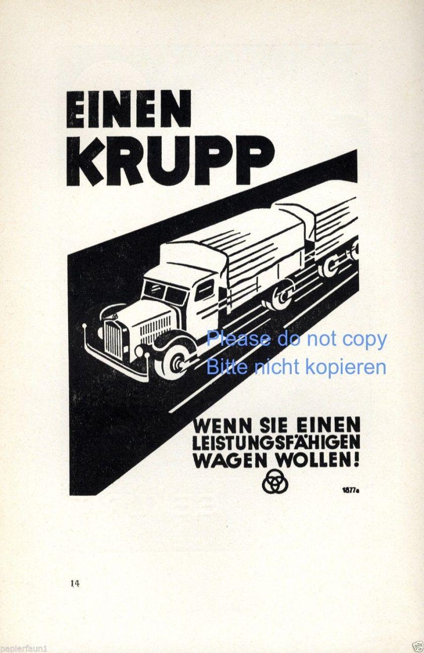 1938 LKW Krupp Reklame von 1938 Lastwagen Truck Werbung ad Leistungsfähigkeit 3 Ringe
