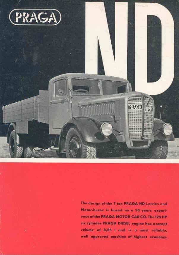 1939 Praga ND 7Ton Diesel Truck Brochure Czechoslovakia wd9241