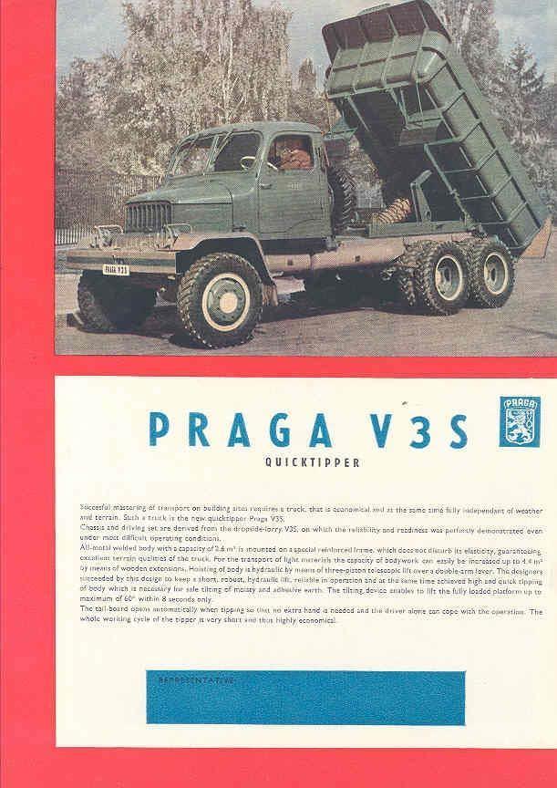 1956 Praga V3S Dump Truck Brochure Czechoslovakia wj6885