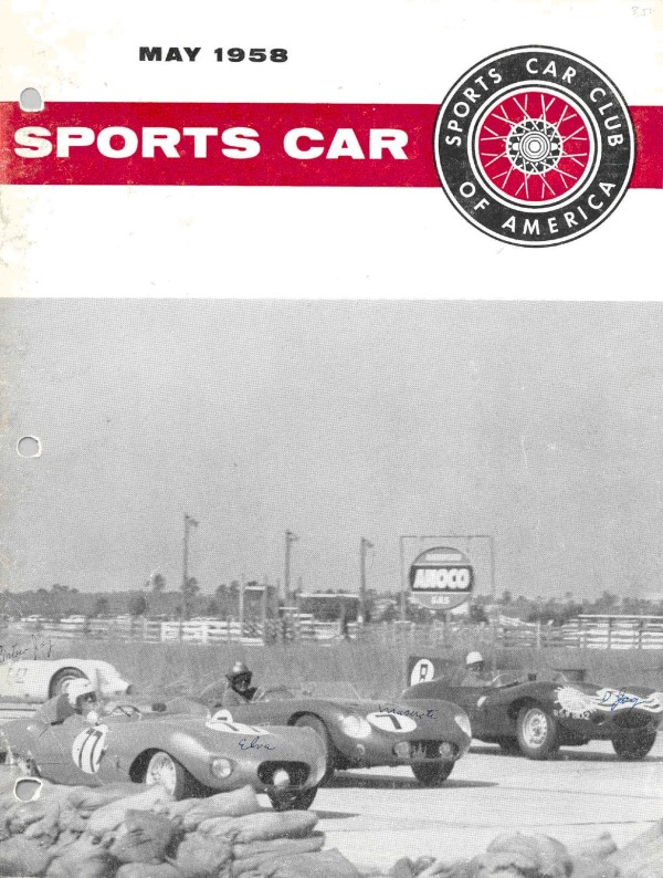 1958 Charles Kurtz in his Elva MK II (#77) at Sebring, 1958, on cover of SCCA magazine