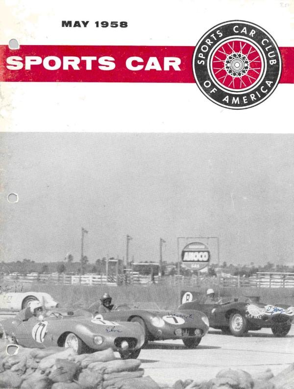 1958 Charles Kurtz in his Elva MK II (#77) at Sebring, 1958, on cover of SCCA magazine