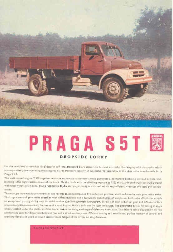 1958 Praga S5T Truck Brochure Czechoslovakia wd9242