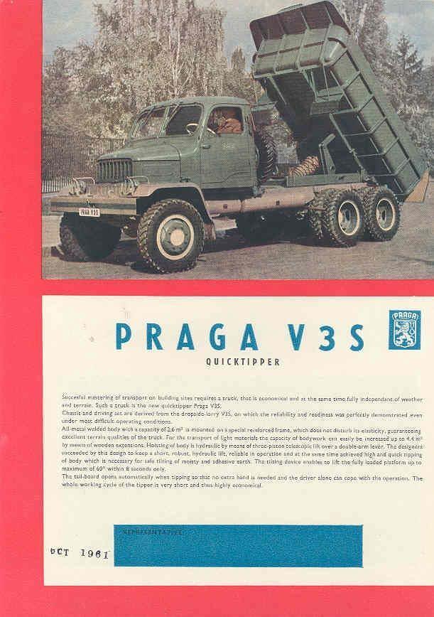 1959 Praga V3S Dump Truck Brochure Czechoslovakia wk5795