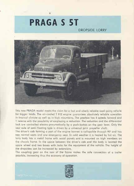 1961 Praga S5T Dropside Truck Brochure Czechoslovakia wl2296