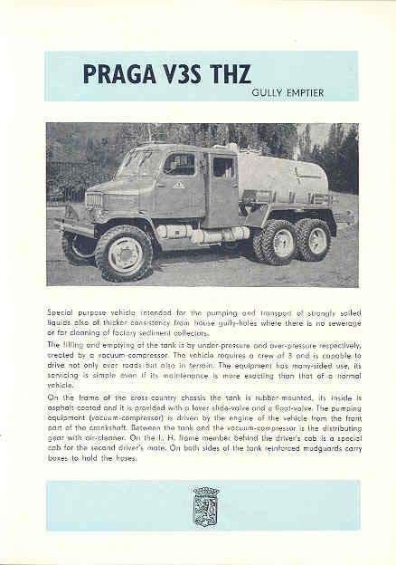 1961 Praga V3S THZ Tank Truck Brochure Czechoslovakia