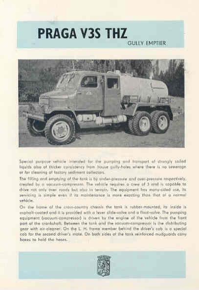 1961 Praga V3STHZ Gully Emptier Truck Brochure wf9912