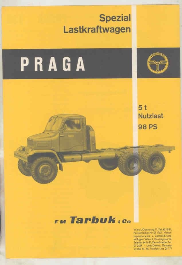 1964 Praga V3S 5Tn Construction Dump Tank Logging Truck Brochure