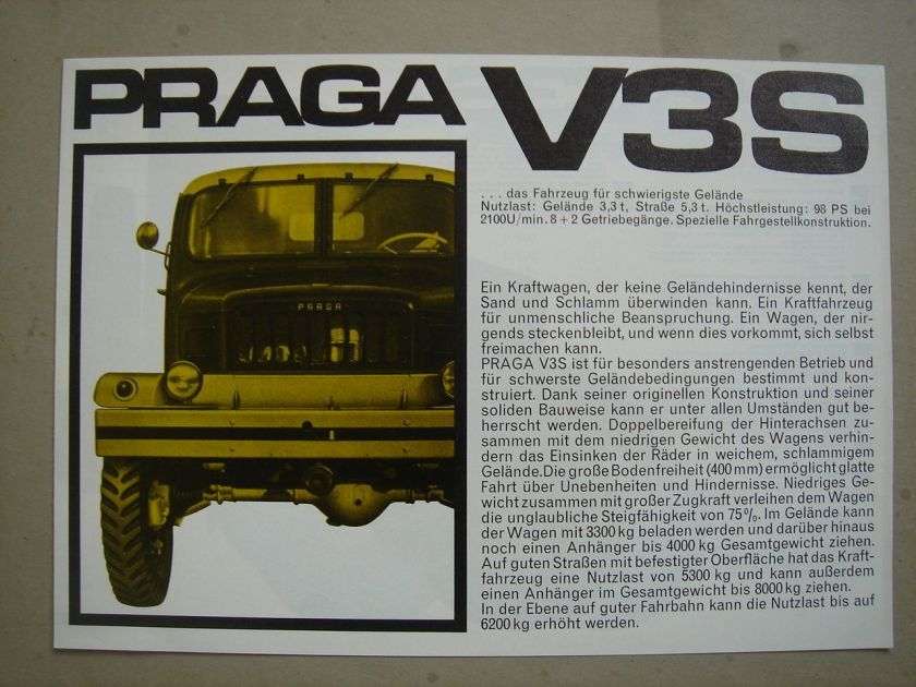 1965 PRAGA V 3 S 6x6 models brochure-Prospekt German