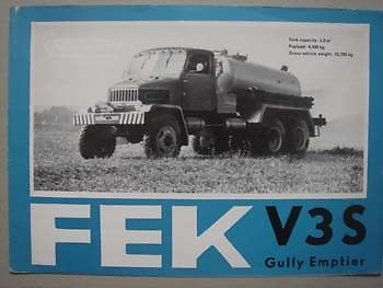 1972 PRAGA FEK V3S Gully Emptier brochure, 1972.