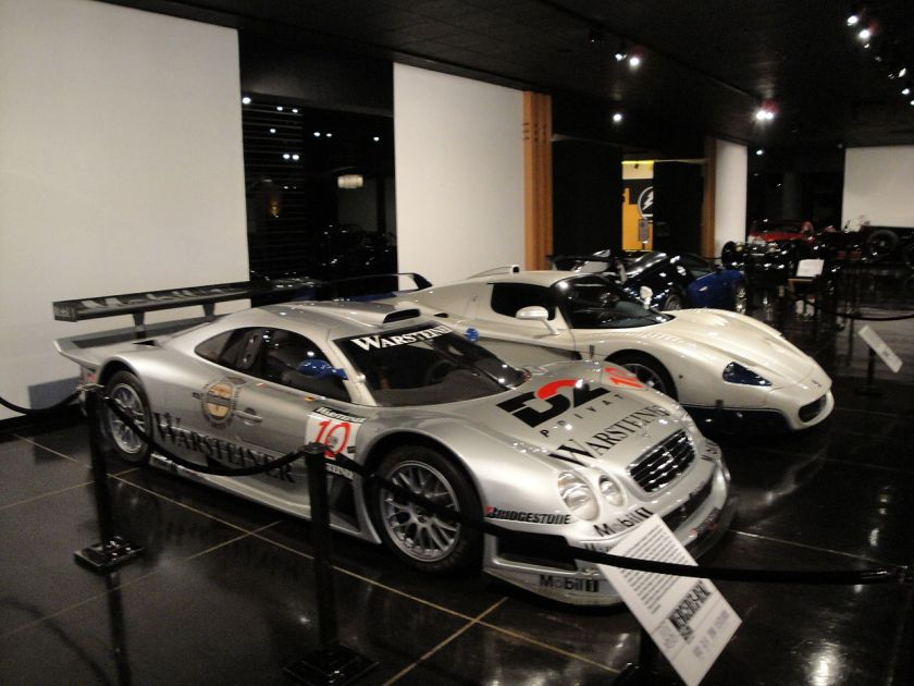 1999 Mercedes Benz CLK-GTR race car (foreground)