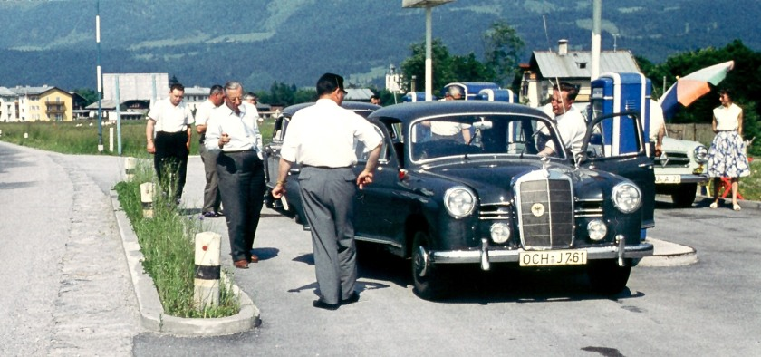 A Mercedes Benz W120 model at a petrol station, photographed in 1961