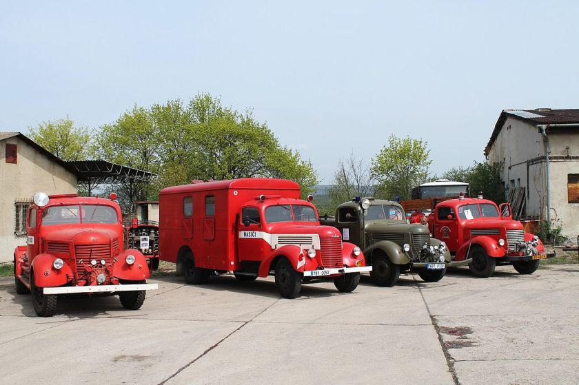 Praga RN 4x fire engines, depository of Technical Museum in Brno, Czech Republic